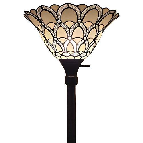 "Amora Lighting AM071FL14 Tiffany-style Jewel Floor Torchiere Lamp White, 14""W x 72""H"