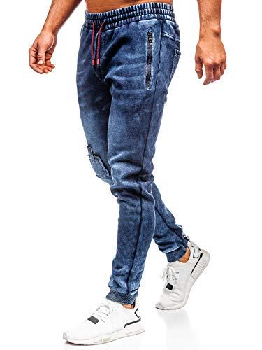 BOLF Herren Hose Jeans Joggerhose JoggerJeans Clubwear Denim Street Style täglicher Stil JSTYLE KK1062 Dunkelblau M [6F6]