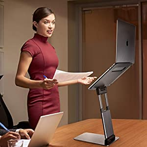Ergonomic Laptop stand for desk, Adjustable height up to 20″, Laptop riser computer stand for laptop, Portable laptop stands, Fits MacBook, Laptops 10 15 17 inches, Laptop holder and Laptop desk stand