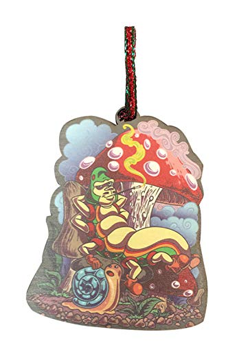 Smoking Caterpillar w/Pet Snail & Mushrooms Laser Engraved Printed Wooden Christmas Ornament Gift Seasonal Decoration