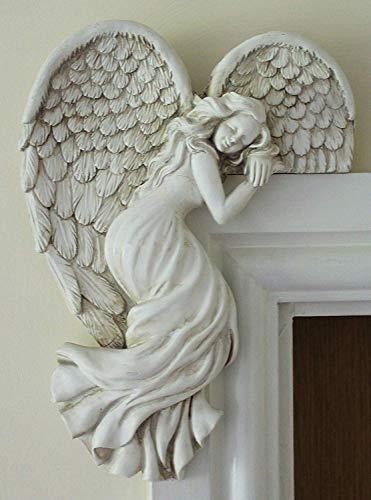 Door Frame Angel Wall Sculpture Ornament Garden Home Art Decor Secret Fairy (left)