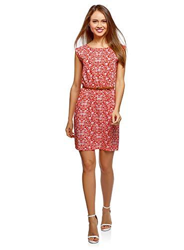 oodji Ultra Damen Ärmelloses Kleid aus Bedruckter Viskose, Rot, DE 32 / EU 34 / XXS