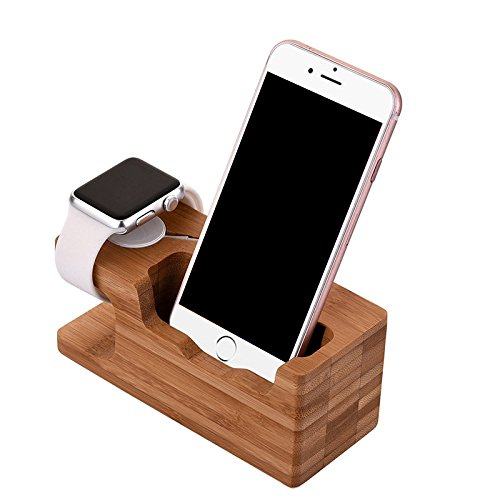 Houten Stand Opladen Cradle Houder Nachtkastje Station Past iPhone X/8/7/6 Plus,4.6-5.8 inch Android Phone, iWatch 42mm & 38mm Origineel