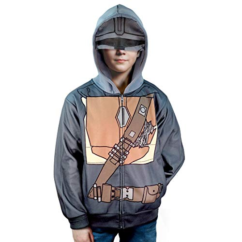 STAR WARS The Mandalorian Mando Sublimated Costume zip up Hoodie w/ Mask for Adult