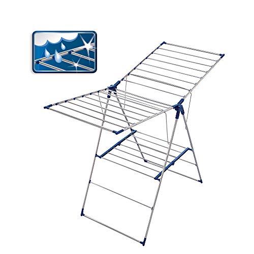 Leifheit Standtrockner Pegasus 150 Flex, individuell einstellbarer Wäschetrockner mit 15m Wäscheleine für 2 Waschmaschinenladungen, aus rostfreiem Edelstahl, Wäscheständer für drinnen und draußen