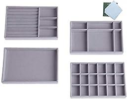 Schmuck Organizers, Schmuckaufbewahrung Schublade, Set mit 4 Schmucktablett Stapelbar Schubladen Ordnungssystem Schmuck...