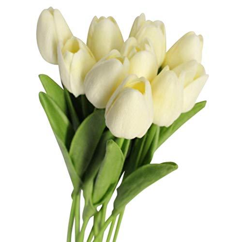 Enticerowts - Juego de 10 tulipanes artificiales de colores vivos para decoración del hogar, boda, fiesta, regalo, fotografía, accesorio, blanco leche