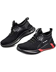 Bestgift Unisex Breathable Mesh Cloth Lightweight Steel Toe Safety Shoes Black+Red 44/US 10