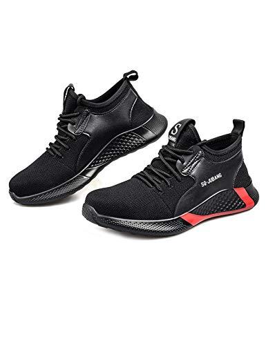 Letuwj Zapatos unisex de punta de acero indestructibles zapatos ligeros de trabajo de seguridad para hombres y mujeres, color Negro, talla 42 1/3 EU