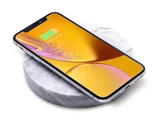 Eggtronic Einova Ladestein – Schnelles & Elegantes kabelloses Laden von Smartphones bis 10W, Qi Standard, für iPhone 12/11/11 Pro/XS/XS Max/8 Plus/AirPods Pro/Samsung Galaxy S20/S10, weißer Marmor