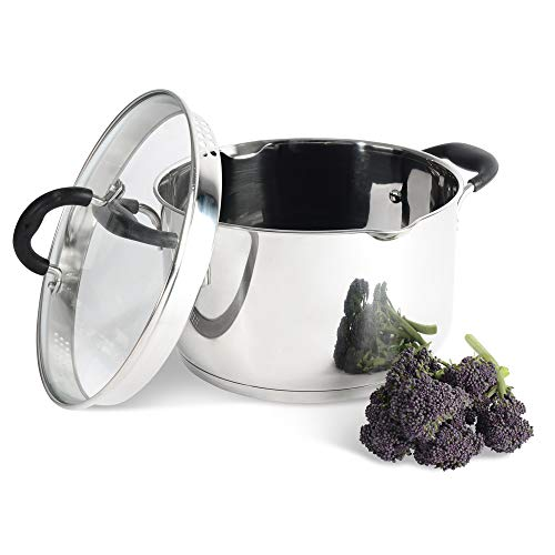 ProCook Gourmet Steel Fleischtopf - mit Deckel - Kochtopf - mit Abgießdeckel aus Glas und Schüttrand - Stay-Cool Silikongriff - Induktionskochtopf - 24 cm - 5,9 l