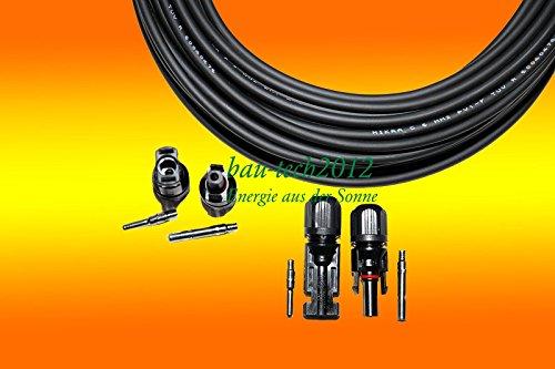 50m Solarkabel schwarz 4mm² + 2 Paar MC 4 Stecker mit Tüv NEU von bau-tech Solarenergie GmbH
