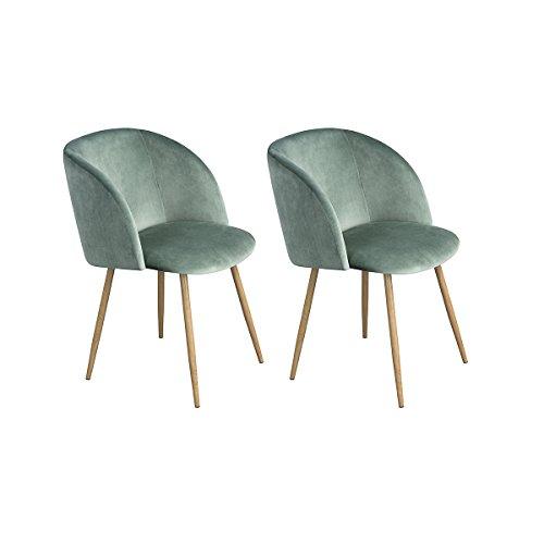 H.J WeDoo 2er Set Vintager Retro Stuhl Sessel Polstersessel Samt Lounge Sessel Clubsessel Fernsehsessel mit hölzernen Metallbeine (Grün)