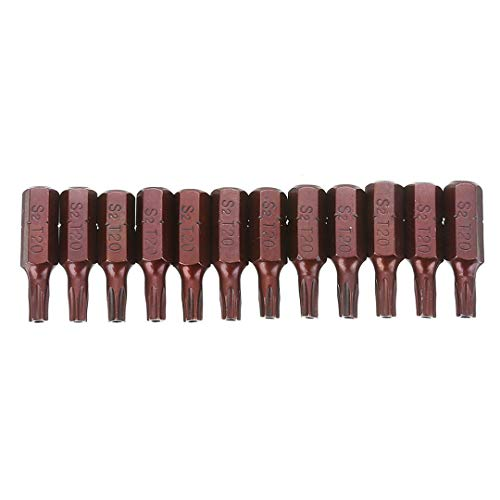 12 puntas de destornillador Torx S2 de seguridad magnéticas, puntas de destornillador hexagonal de 1/4 de pulgada, puntas T20 para taladro eléctrico manual