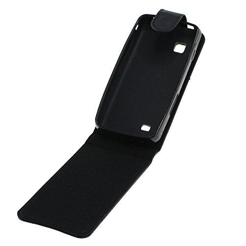 Mobilfunk Krause - Flip Hülle Etui Handytasche Tasche Hülle für Samsung GT-S5260 | S5260 (Schwarz)
