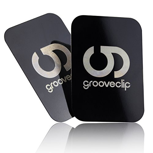 grooveclip® Metallplättchen Set für Magnet KFZ Halterungen | 2er Ersatz/Zusatz Set für Handy und Navi | Metall-Platten mit 3M Klebe-Folie | für Magnet-Halter Herstellern
