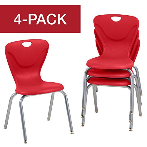 FDP 18' Contour School Stacking Student Chair, Ergonomic Molded Seat Shell with Powder Coated Silver Frame and Swivel Leg Glides; For In-Home Learning, Classroom or Office - Red (4-Pack)