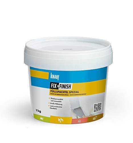 Knauf 593751 Füllspachtel FIX + Finish Spezial zum Füllen von Spalten und Rissen mit mäßigen Bewegungen – elastische Gips-Spachtel mit hoher Elastizität, licht-grau, 1 kg