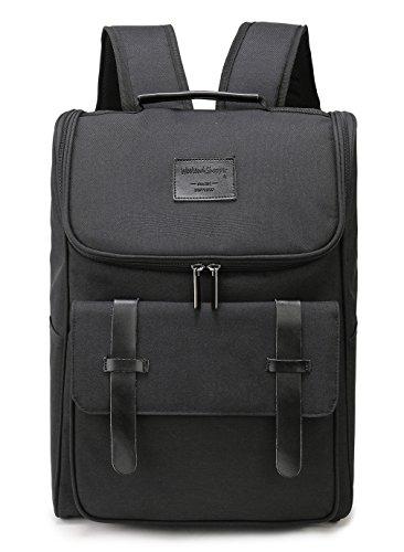 Weekend Shopper Lightweight Genuine Leather Travel Backpack Rucksack School Bag Backpacks Fits 15.6 inch Laptop Black