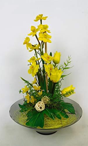 Blumengesteck Gesteck Narzisse Tischgesteck Tischdeko Kunstblume Dekoblume künstlich Kunst Blume unecht 30 cm (gelb) 126