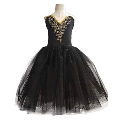 Disfraces de Baile de Ballet para niñas Falda de tutú de Cisne Negro Vestido de Rendimiento de Lentejuelas