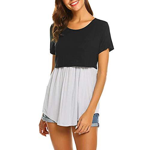Damen Top T Shirt Bluse Frauen Schwanger Stillen Oberteile Hemd (Large, Schwarz)