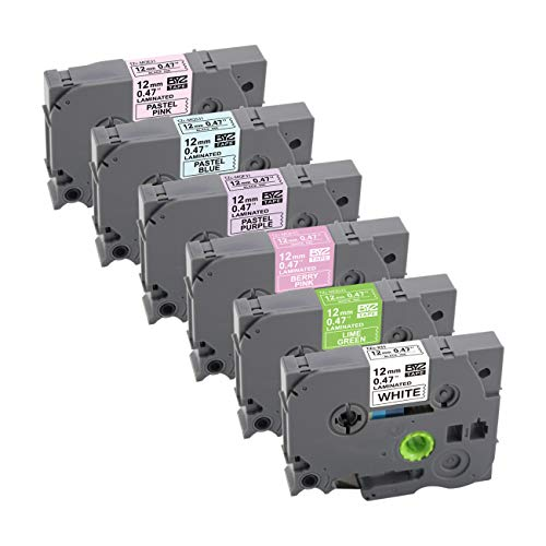 6-Pack Replace Brother TZe 231 MQG35 MQP35 MQF31 MQ531 MQE31 (White/Green/Berry Pink/Purple/Blue/Pink) P Touch TZ 12mm 0.47 Inch Laminated Tape for Brother P-Touch PT-D210 PT-H110 PT-H100 8m 26.2 Feet