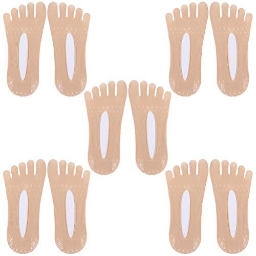 BSTTAI Calcetines de Cinco Dedos para Mujer, Calcetines de compresión ortopédica, Calcetines de Dedo para Mujer, Calcetines de Tobillo escotados, Medias de Seda para niñas