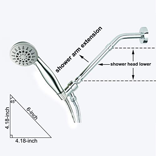 iFealClear Shower Arm Extension, Solid Brass Shower Head Extension Arm Water Outlet Lowers Existing Shower Head, Easy to Install