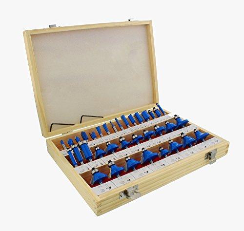 ABN Tungsten Carbide Router Bit 35-Piece Set, 1/4in Shank – Woodworking...