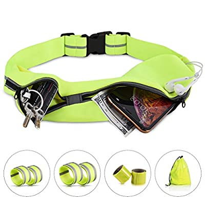 RUNACC Running Belt Bands, Reflective Running Waist Bag with Pack Runners Reflector Band, High Visibility Reflective Running Gear Reflectors Armband, Safety Reflective Strap Bracelet for Run, Cycling