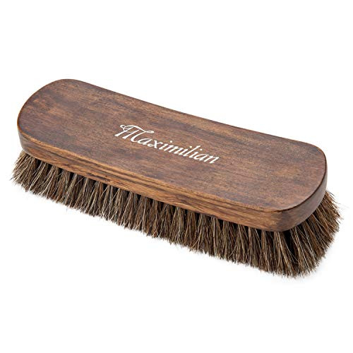 8' Shoe Shine Brush, 100% Soft Horsehair & Beech Wood Shoe Polish Large Shoe Cleaning - for Shoes, Boots & Other Leather Care