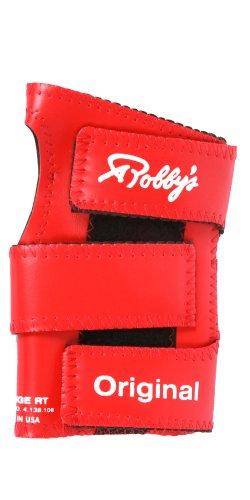 Robby's origineller handgelenkstützer Bowlinghandschuh für die linke Hand aus Vinyl , Herren, Vinyl Original Left Wrist Support, rot