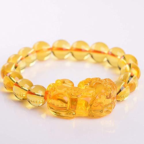 JIACUO por Supuesto, Feng Shui Yellow Quartz Pixiu Pi Yao Pulsera Wealth Crystal Bracelet Attract Wealth, Yellow Abstinence from Evil Spirits Pulsera, 10 mm