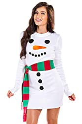 Ugly Christmas Sweater Dress Tipsy Elves Women's Snowman Ugly Sweater Dress with Scarf