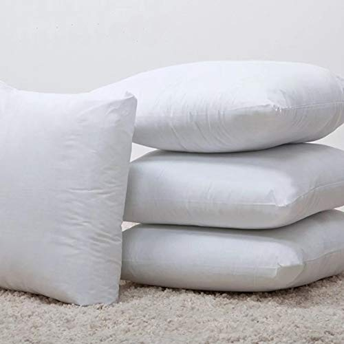 Iyan Linens Ltd Luxury New White Hollowfibre Cushion Pad Inner Insert 20x20,Pack4-100% Natural Anti Dust Mite And Down Proof Cover - Non Allergenic Polyester Filling