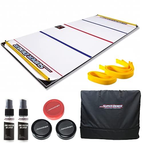 "SuperDeker Advanced Ice Hockey Training System   Real Ice Feel, Light Up Sensors Stickhandling Game - 3 Training Modes   67"" x 28.5"" Ice Hockey Training Pad All Parts Included (SuperDeker Bundle)"