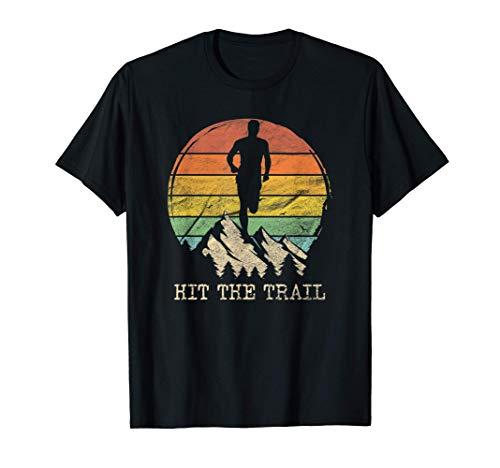 Hit The Trail Vintage Running Jogging Jogger Marathon Runner Maglietta