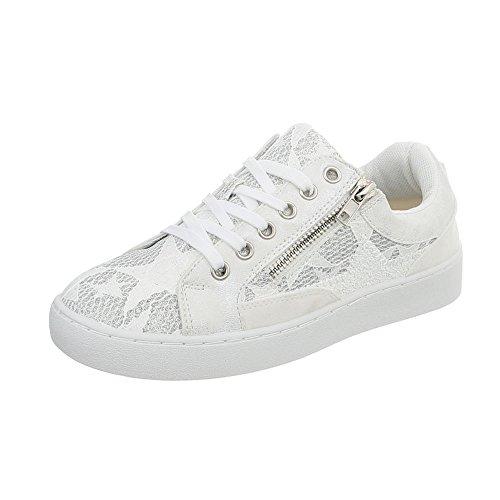 Ital Design Sneakers Low Damen-Schuhe Schnürsenkel Freizeitschuhe Weiß, Gr 38, 88016-