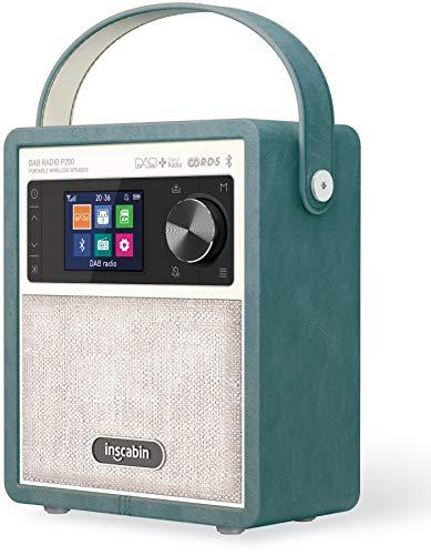 Inscabin P200 Portable DAB DAB + FM Digital Radio- Altoparlante wireless portatile con Bluetooth, suono stereo, bel design, doppia sveglia, batteria ricaricabile, subwoofer (Green)