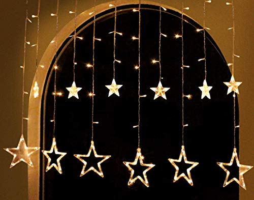 2Packs 12Stars 138LED Window Curtain String Lights Fairy Lights 8 Flashing Modes Decoration Remote Control for Christmas Home Holiday Festival Party Wedding Bedroom Indoor Outdoor Decor (Warm White) 3