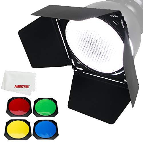 Godox Puerta de granero BD-04 + rejilla de panal + filtro de 4 colores para reflector estándar