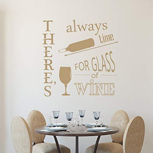 Muurstickers Er is altijd tijd voor Citaat Decal Glas Van Wijn Vinyl Sticker Home Decor 38
