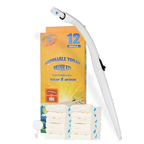 Effacera Disposable Toilet Cleaning System Disposable Toilet Brush Fresh Brush with Flushable Refills (Brush with 12 Count Refills)
