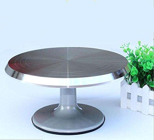 SZ5CGJMY  Plato giratorio profesional de resistente aleación de aluminio para decoración de pasteles, 30 cm