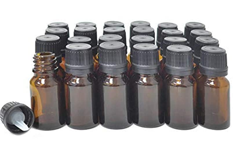 ベテラン召喚する隔離ljdeals 10ml Amber Essential Oil Bottle with Euro Dropper Black Cap Glass Bottles Pack of 24 [並行輸入品]