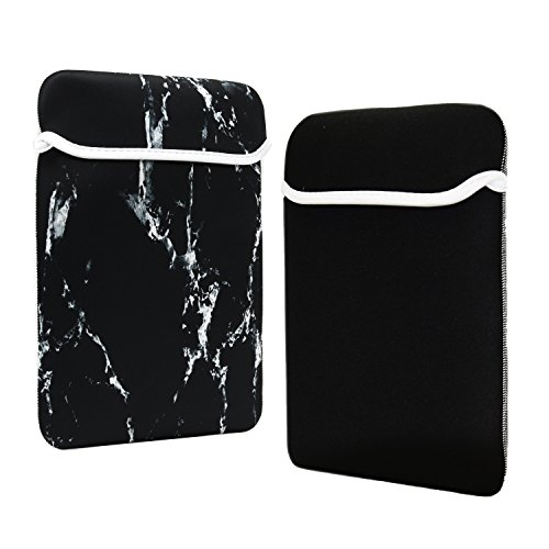 TOP CASE - Marble Pattern Reversible Sleeve Bag Cover Compatible with Most 13' 13-inch Laptop Notebook/MacBook/Ultrabook/Chromebook - with TOP CASE Mouse Pad - Black
