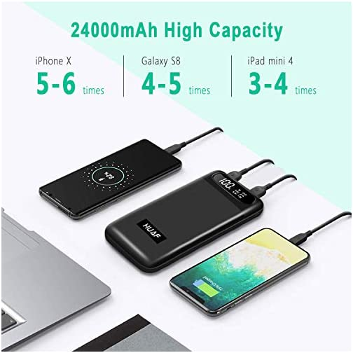 Power Bank Portable Charger 24000mAh Huge Capacity Battery Pack with 3 Inputs 2 Outputs Backup Battery Compatible Smart… 4