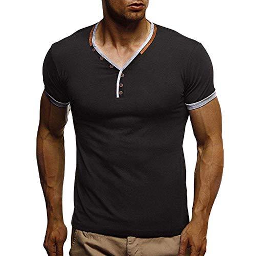 Xmiral T-Shirt Uomo Tee, Maglietta a Maniche Corte, Uomo T-Shirt Semplice Tee Maglietta a Maniche Corta per Uomo Elegante Casual - Camicia T-Shirt Uomo Sportivi Vintage XL Nero