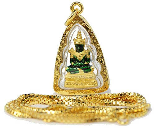 Famous Thai'Emerald' Buddha Amulet Pendant 24k Gold Plated + 20' Chain Necklace